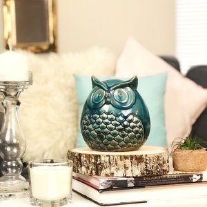 Ceramic Turquoise Owl Statue